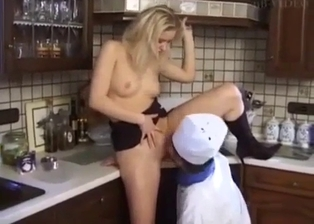 Busty blonde sister sucks my boner in the kitchen
