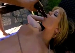 Real sister with big boobs is sucking a bottle