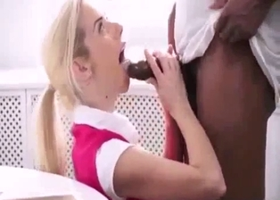 Cute white stepdaughter blows her black stepdad