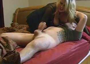 Bald son gets sucked by a big-breasted mother