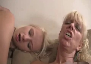 Blonde sister eats her brother's fat cock with passion