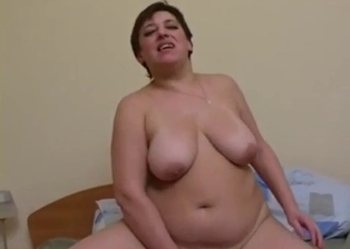 Fat mom with huge tits bangs with her son