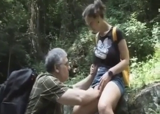 Perverted grandfather seduces his busty granddaughter