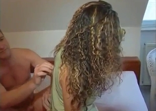 Curly-haired sister really likes her brother's dick