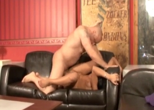 Fat bald dad bangs his slender young stepdaughter
