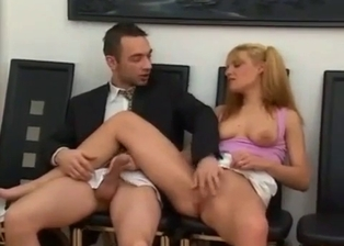 Pigtailed blonde with big jugs jumps on a brother